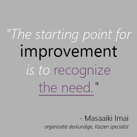 starting point for improvement is to recognize the need
